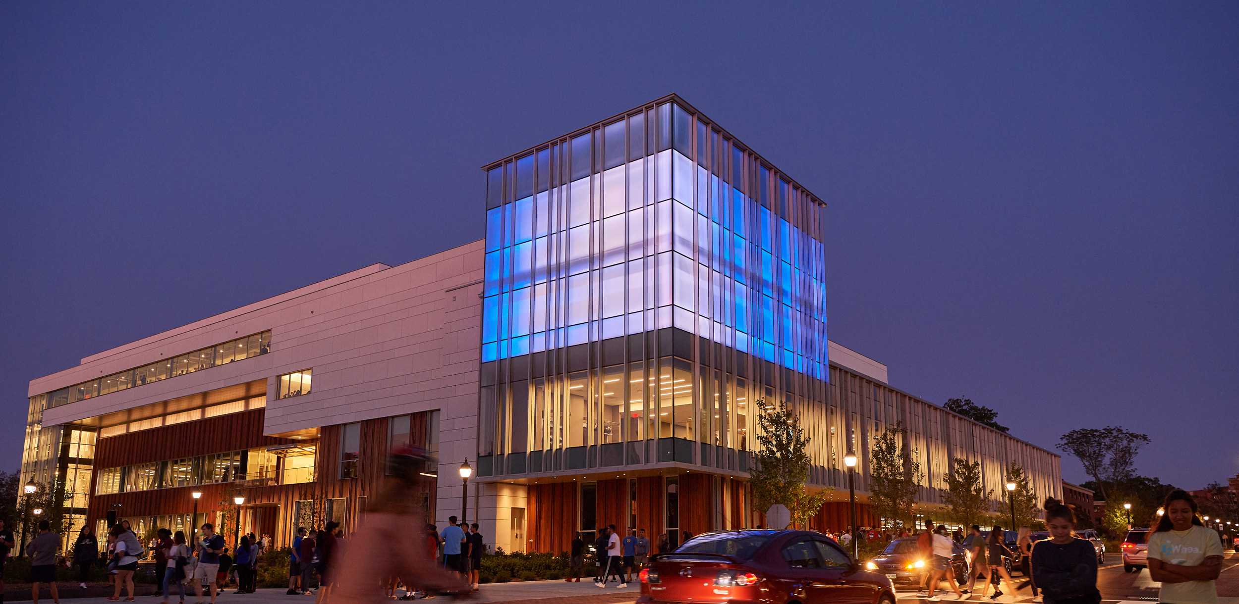 A view of the new Student Recreation Center at dusk following the opening ceremony