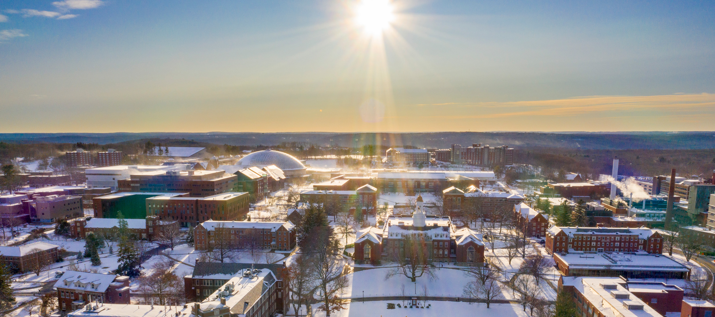 Aerial drone views of the first snowstorm of the semester